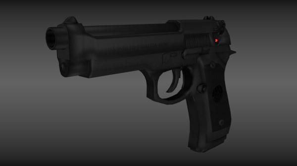 3d model m9 beretta beretta-m9