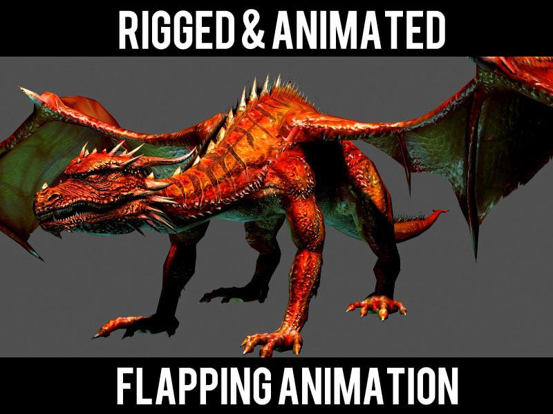 red dragon flying 3d model