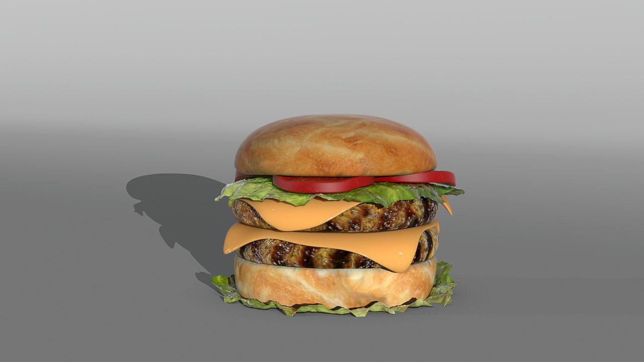 3d hamburger modelled