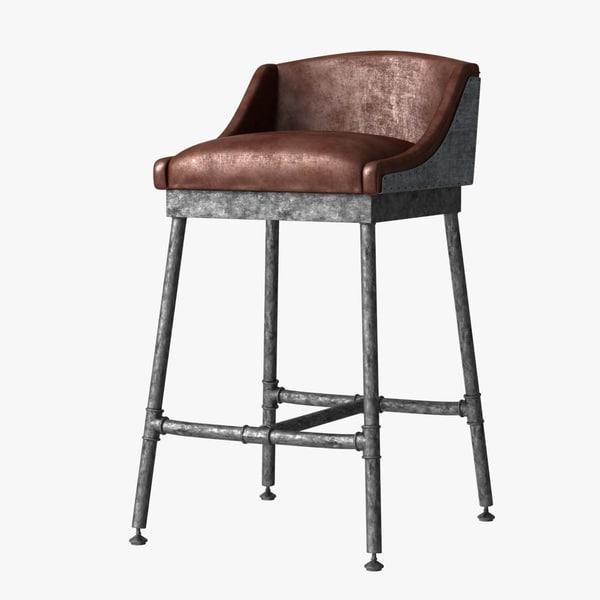 3d stool iron scaffold leather