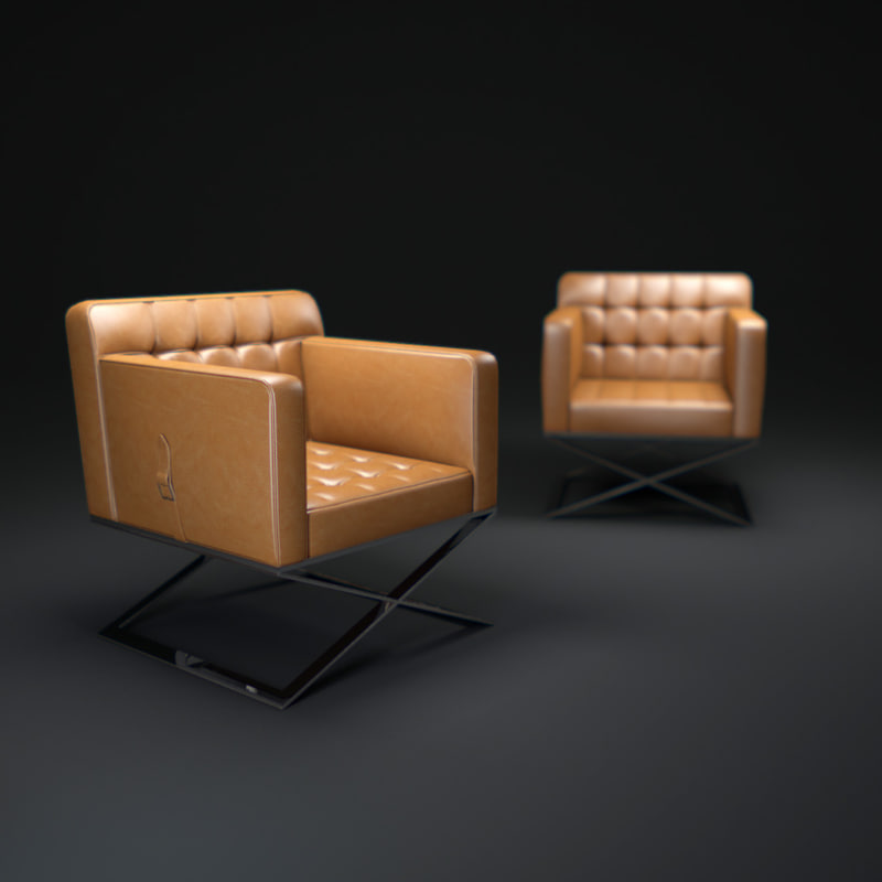3d model bentley-leather-chair