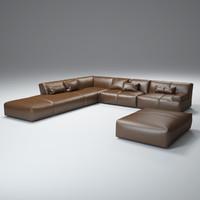 fendi-leather-sofa 3d model