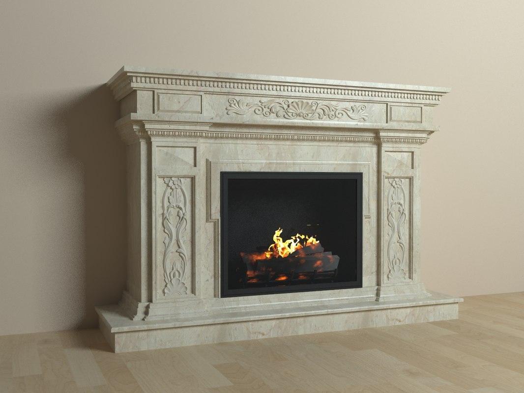 3d model realistic fireplace