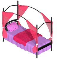 cartoon bed 3d obj