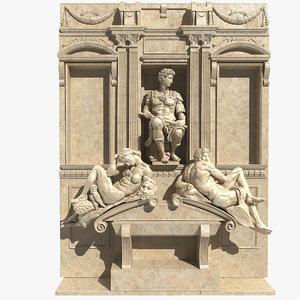 3d model of tomb giuliano medici statue