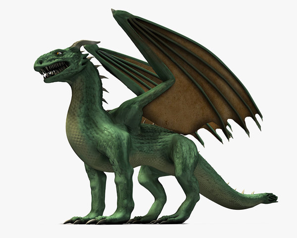 winged green dragon 3d max