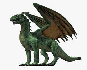 winged green dragon 3d max