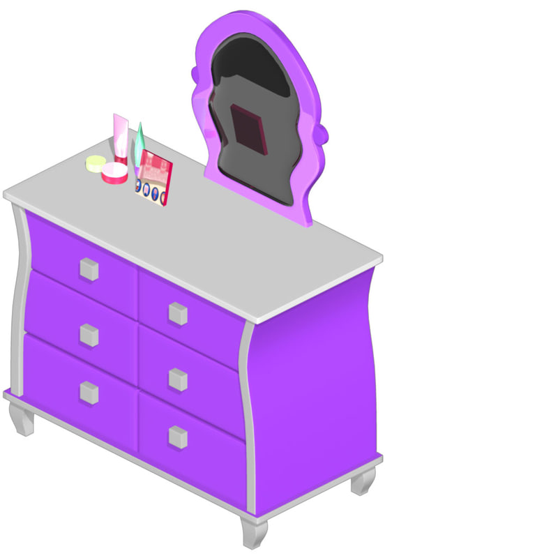 3d fbx makeup table