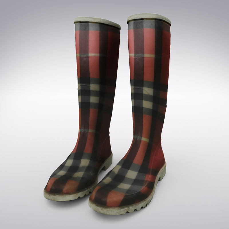 3d model of checkered rain boots scanning