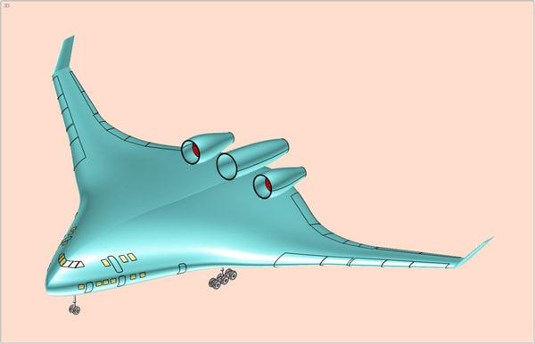hybrid aerodynamics transport aircraft 3d 3ds