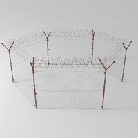 Barbed Wire Fence (Weathered) Low Poly