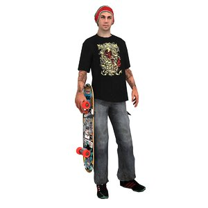 skater skateboard rigged 3d model
