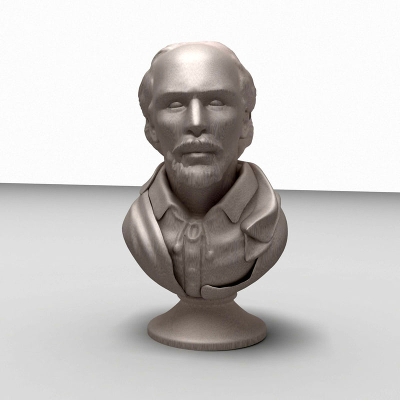 3d model of william shakespeare bust