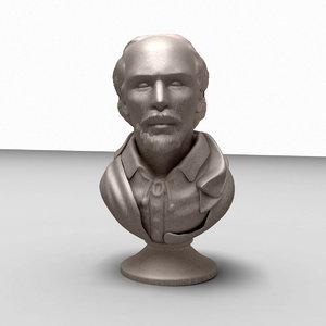 3d model of william shakespeare bust