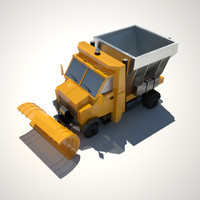 3d low-poly snowplow model