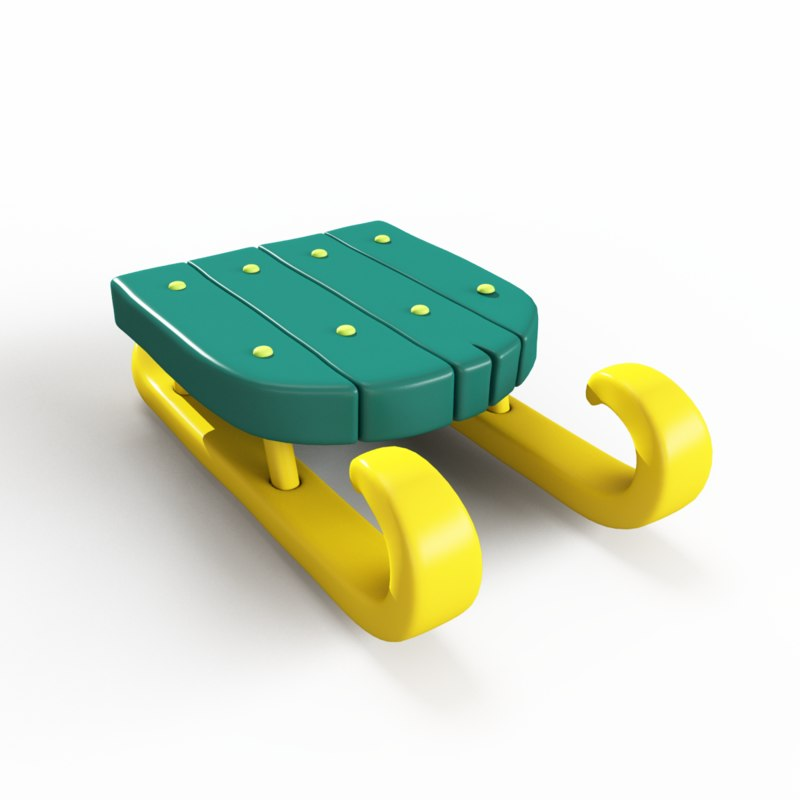 snow sled toy 3d max
