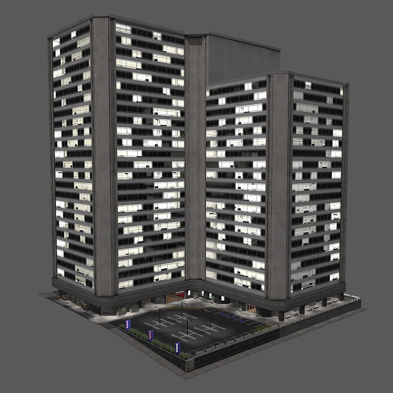 city building block modern 3d model