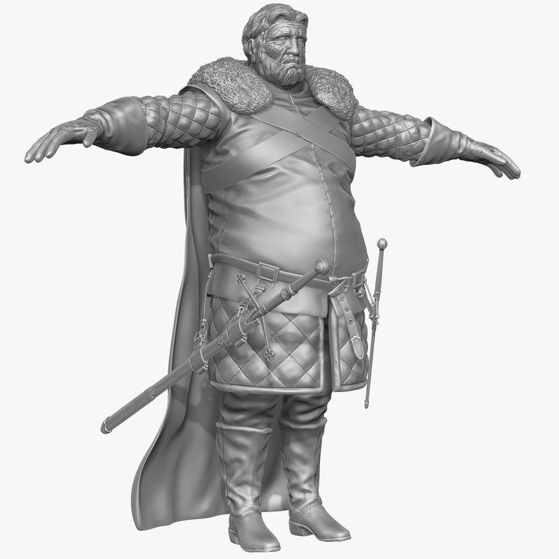 sculpt heavy medieval man obj