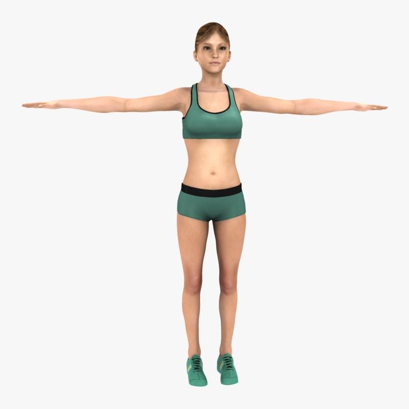 3d athletic female