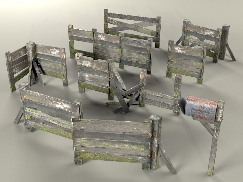 Old wooden fence 3d model for 3d fence