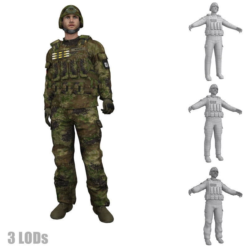 3d rigged soldier 3 s
