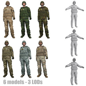 3d pack rigged soldier s model