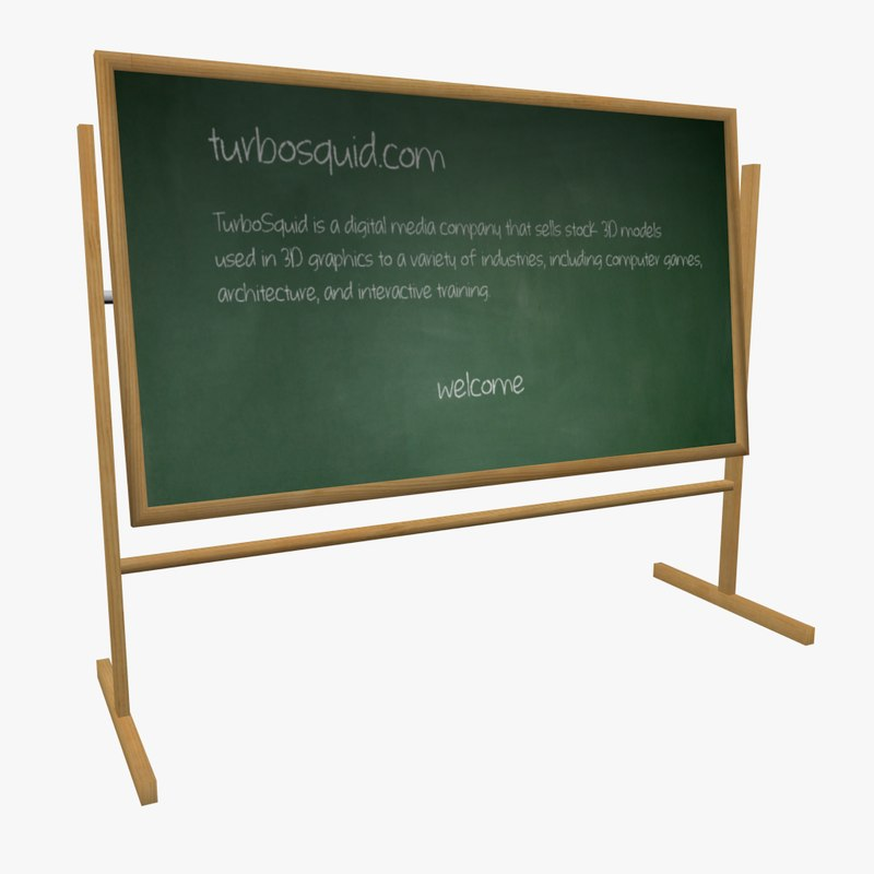 green chalkboard chalk sponge 3d model