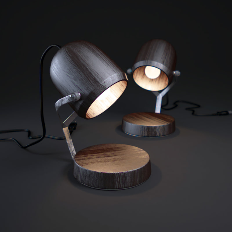 3d model small-wooden-table-lamp
