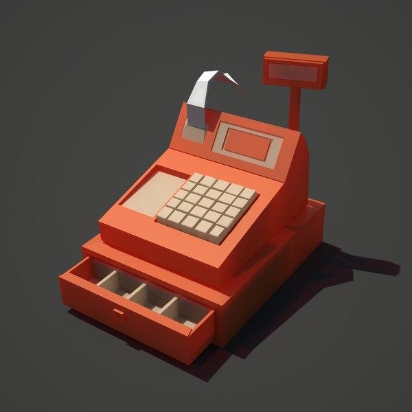 3d low-poly cash register