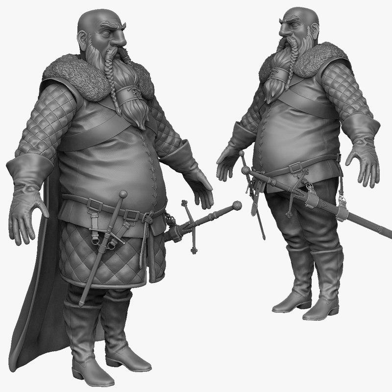 3d 3ds sculpt heavy medieval man