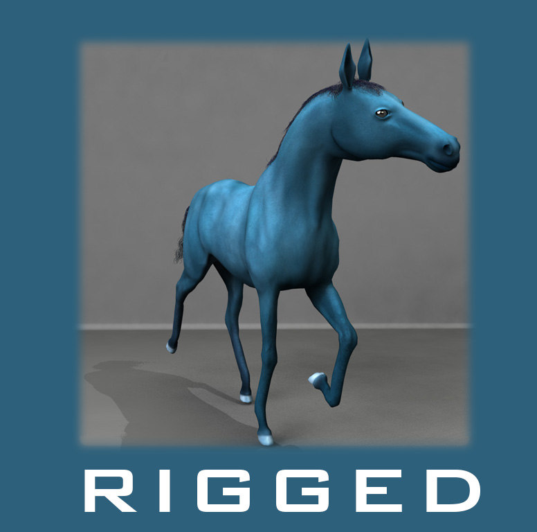 3d horse rigged animation model