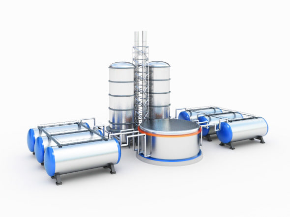oil gas factory 3d model