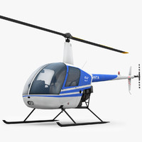 3d low-poly robinson r22 helicopter
