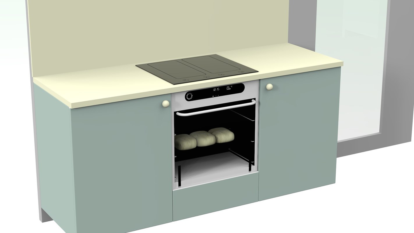 3d model small kitchen