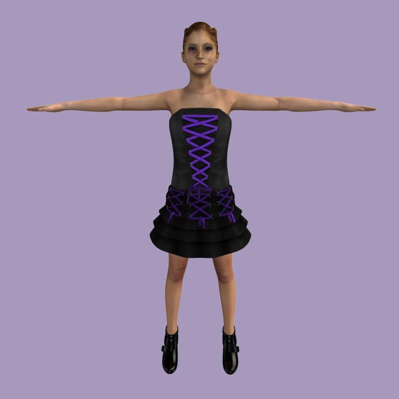 3d goth girl