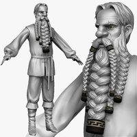 sculpt peasant man zbrush 3d obj