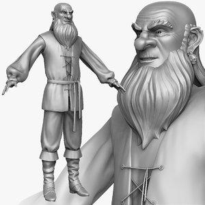 sculpt medieval peasant man 3d obj