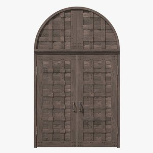 3d old castle double wood door model