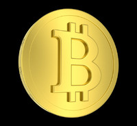 3d metallic coin bitcoin model