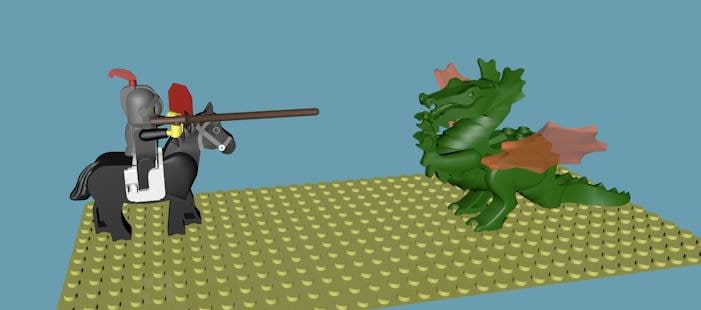 3d model lego knight dragon rigged