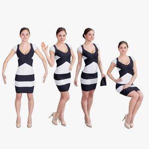 3d pack woman dress model