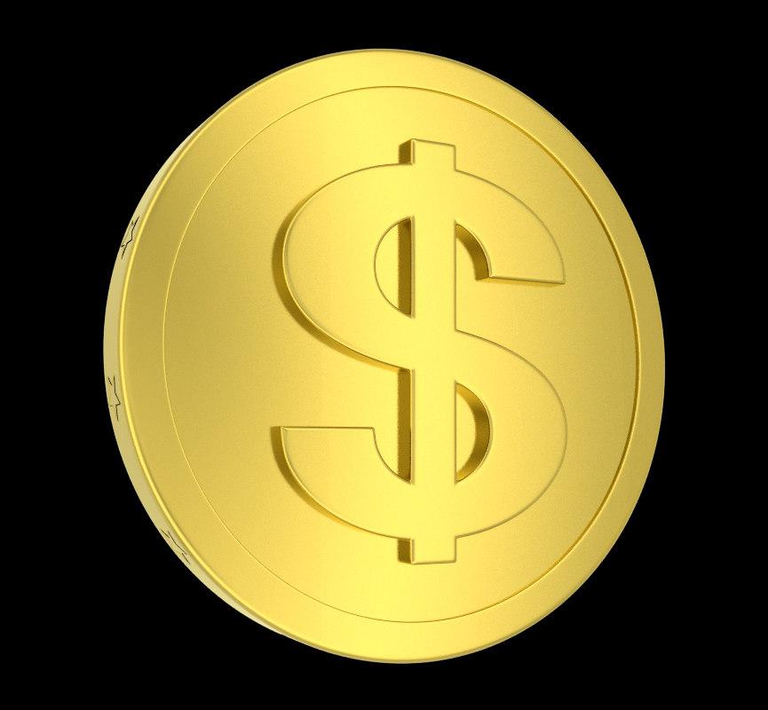 metallic coin 3d model