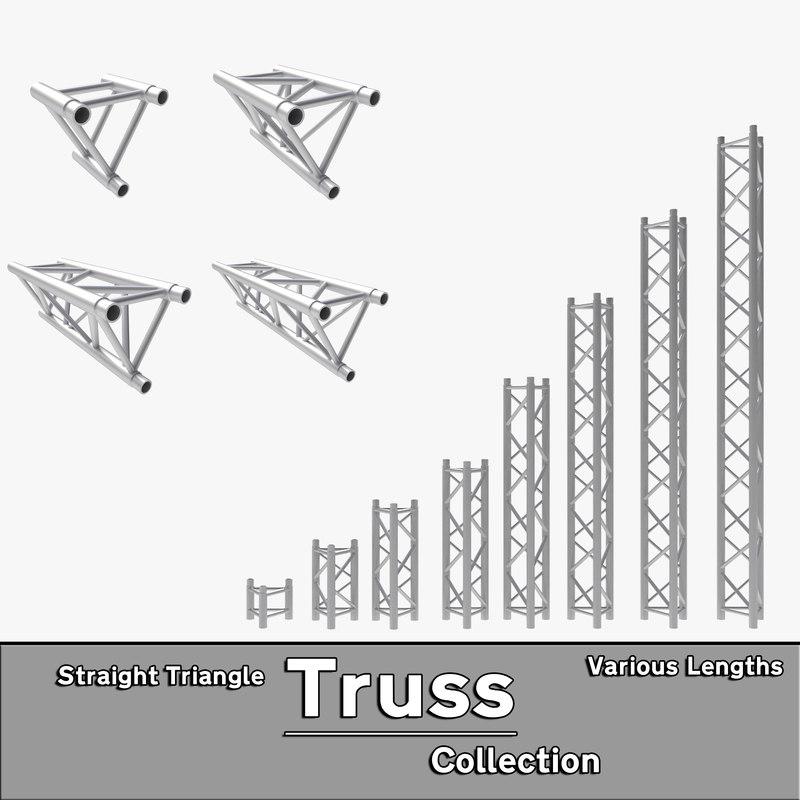 straight truss 3d obj