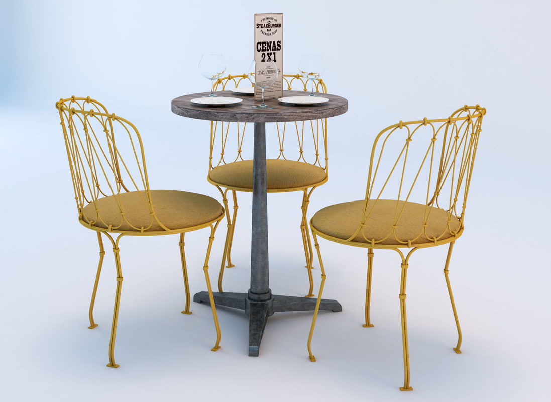 set chairs table bistro 3d model