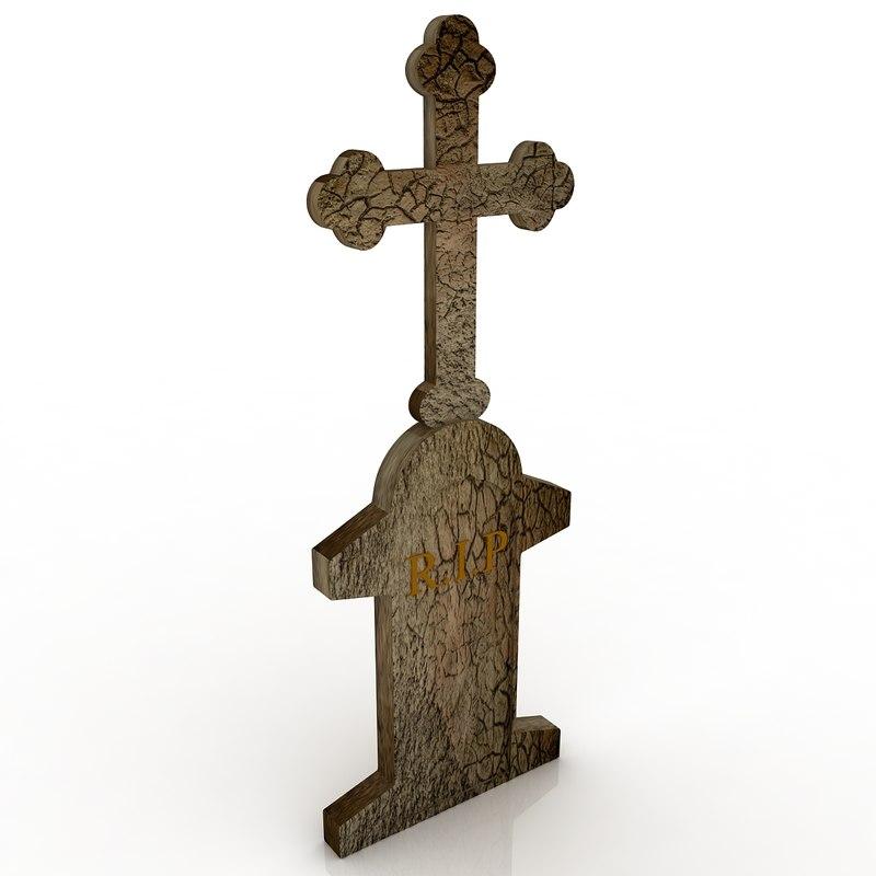 grave cross v1 3d model