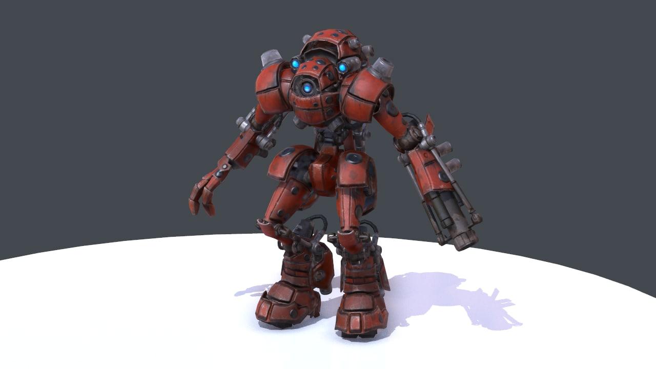 3d robot mr-v04 red model