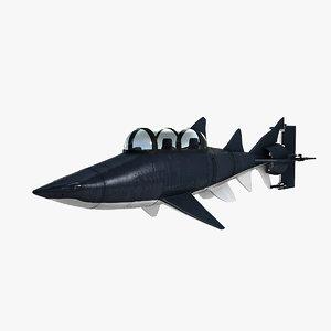 manned shark submarine 3d model