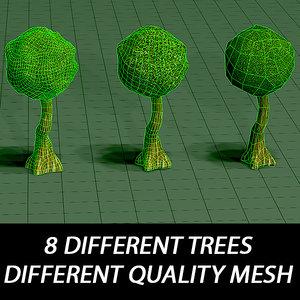 3d model trees different mesh