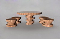 3ds max table chairs wood
