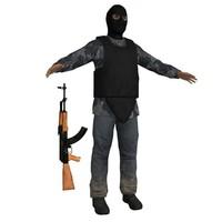 3d terrorist ak47 soldier model